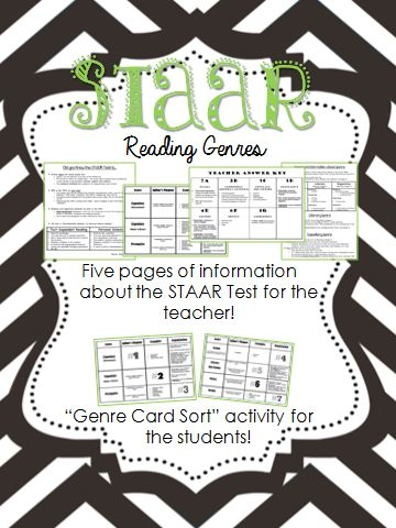 genre card sort reading staar test information